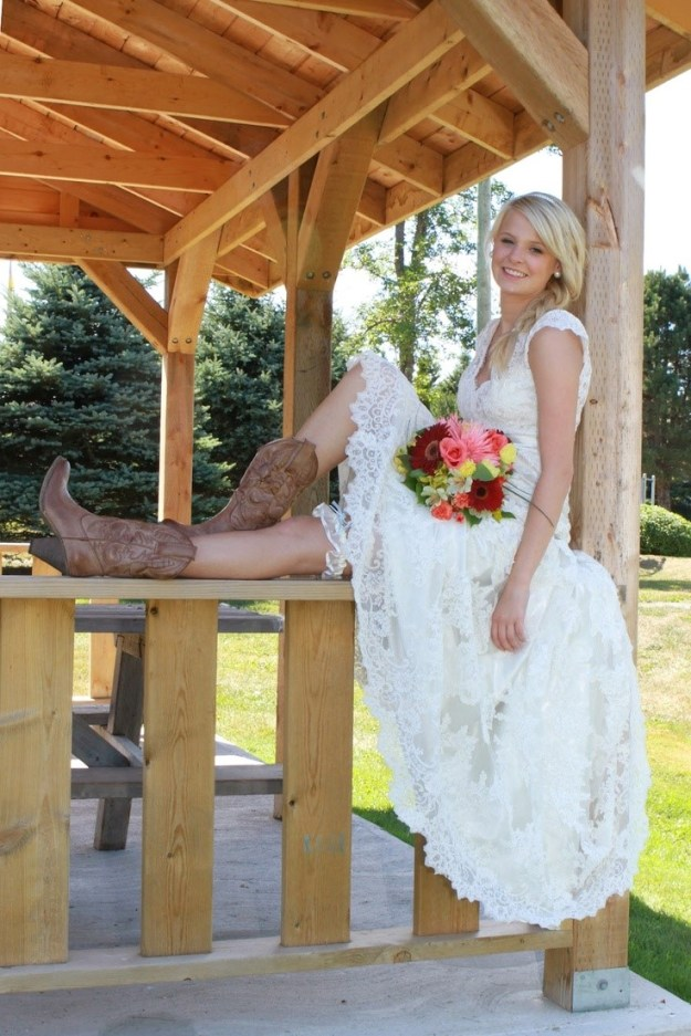 Bride Sitting In A Lacey Dress